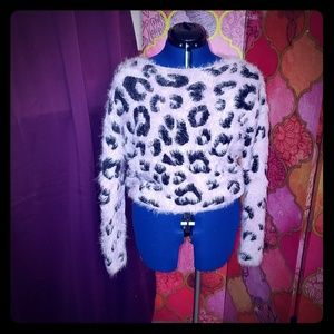 Pink / mauve leopard print fuzzy sweater